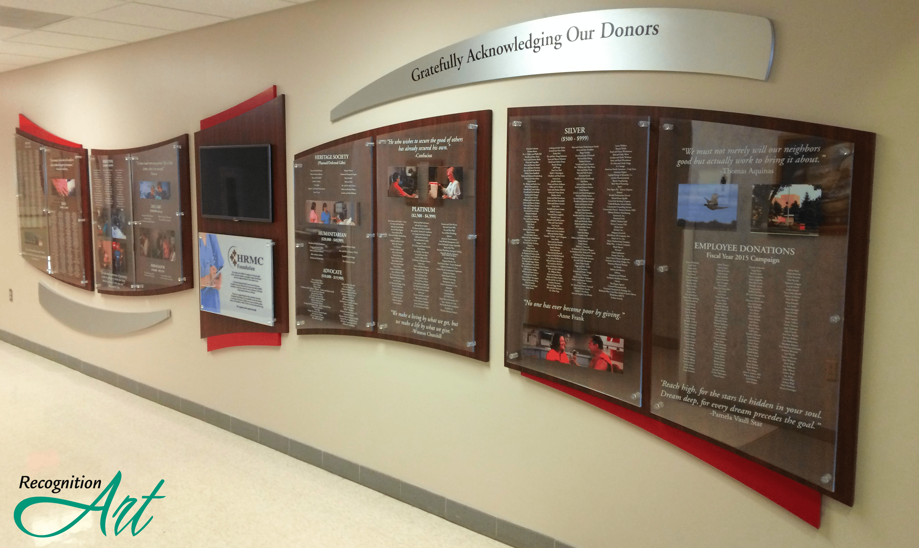 Huron Regional Medical Center Changeable Plexiglas and Media Display by RecognitionArt
