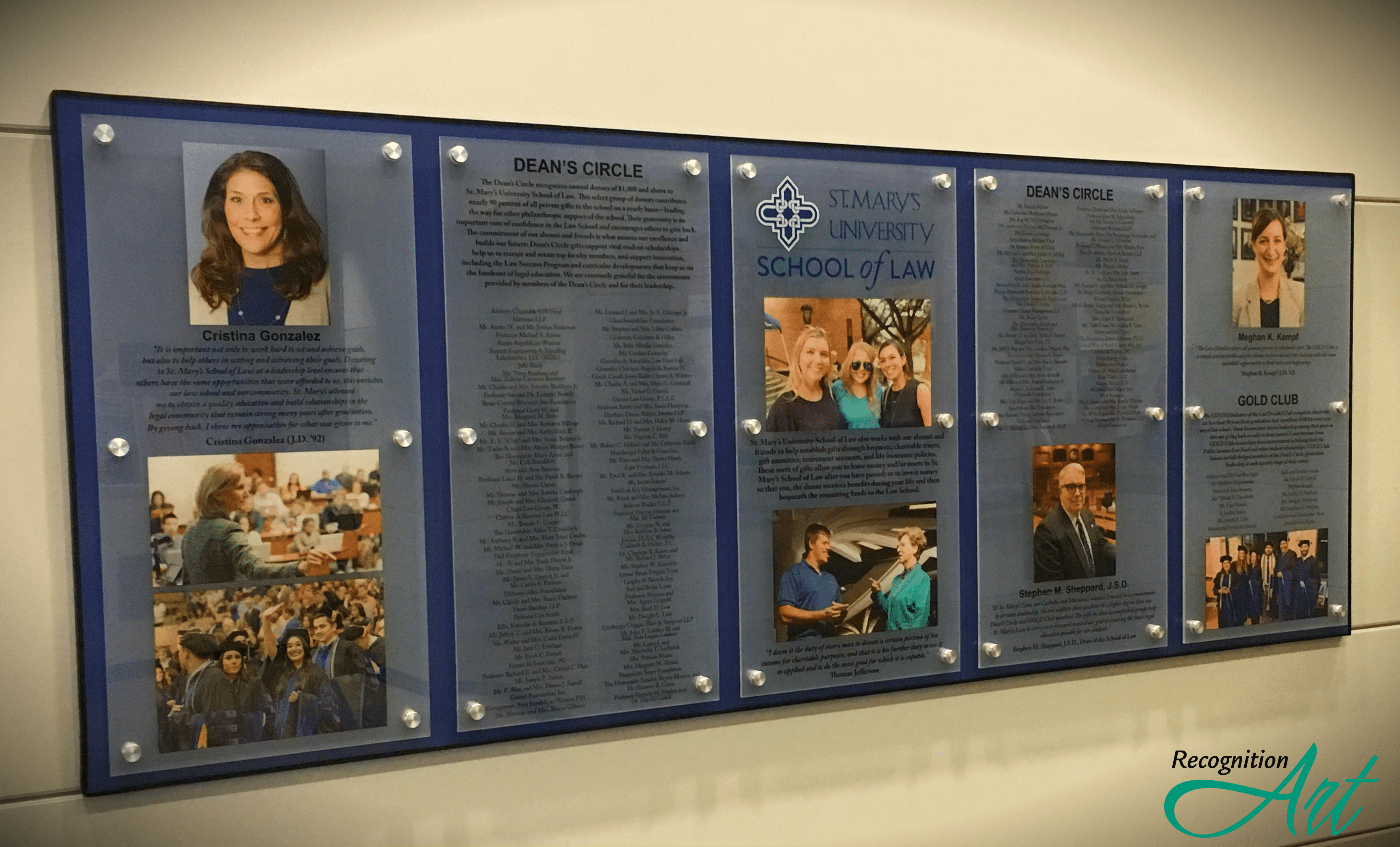 Blue backer with five opaque acrylic changeable fronts printed with photos of individuals and honored recipients.