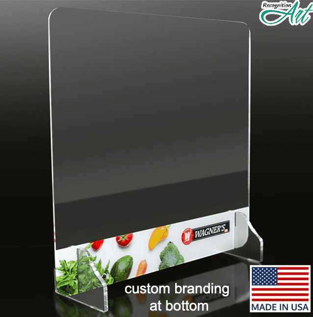 Freestanding sneeze guard shield with customized branding on bottom